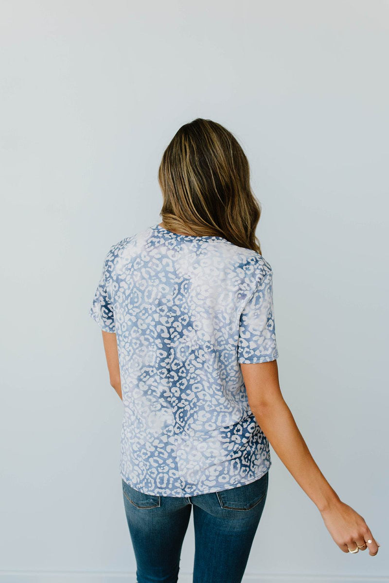 Fading Away Leopard V-Neck In Navy - Amaranth Collection