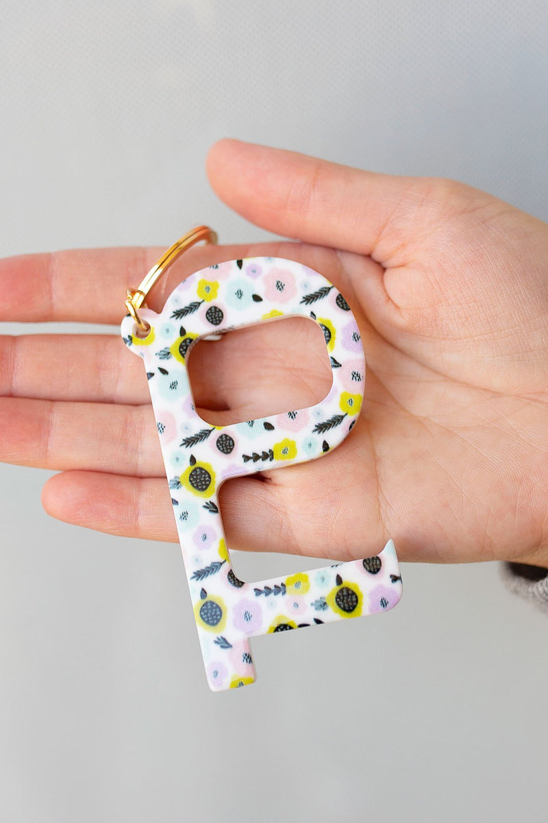 Contactless Door Opener Tool Keychain in Pastel Flowers - Amaranth Collection