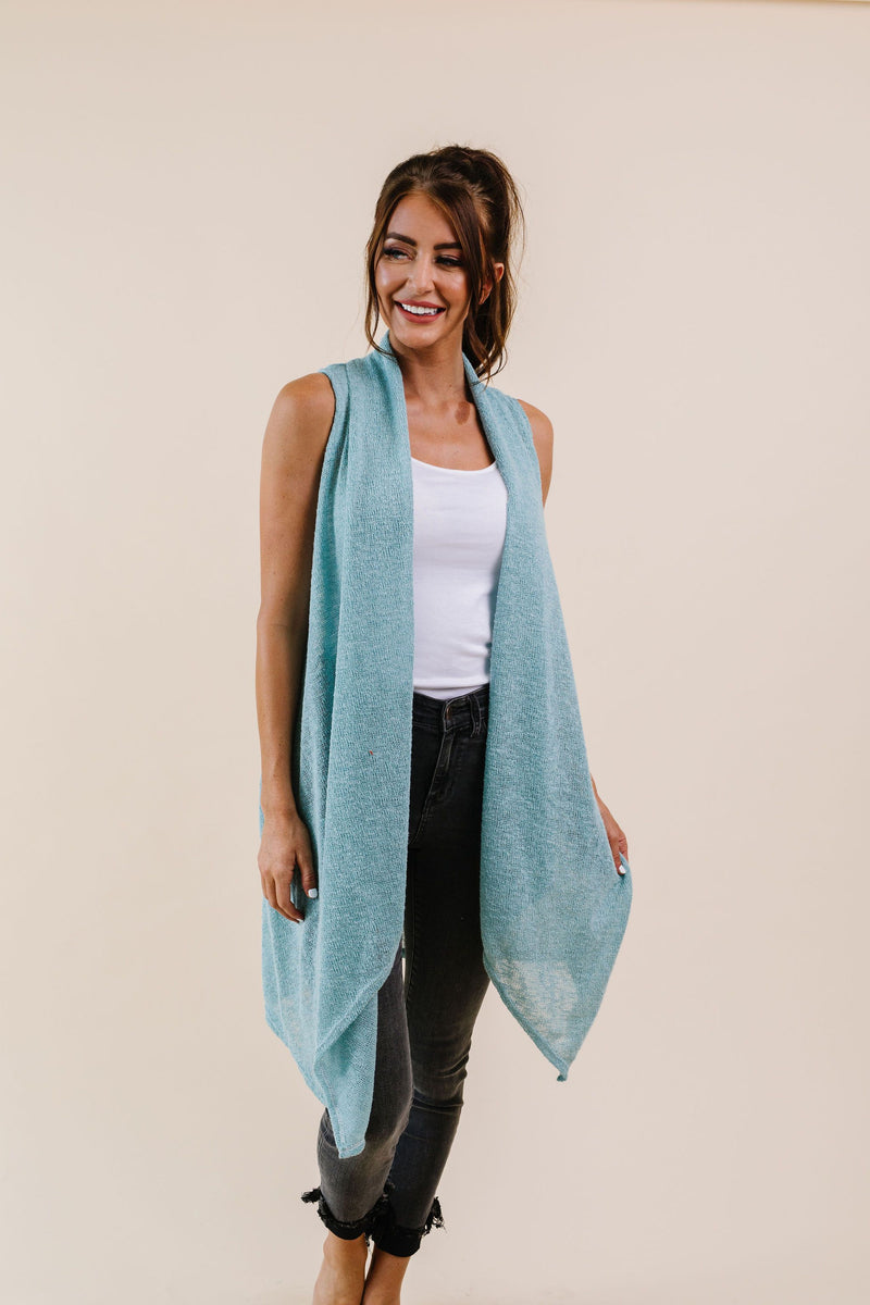 Gauzy Bohemian Cardi Vest In Sage - Amaranth Collection