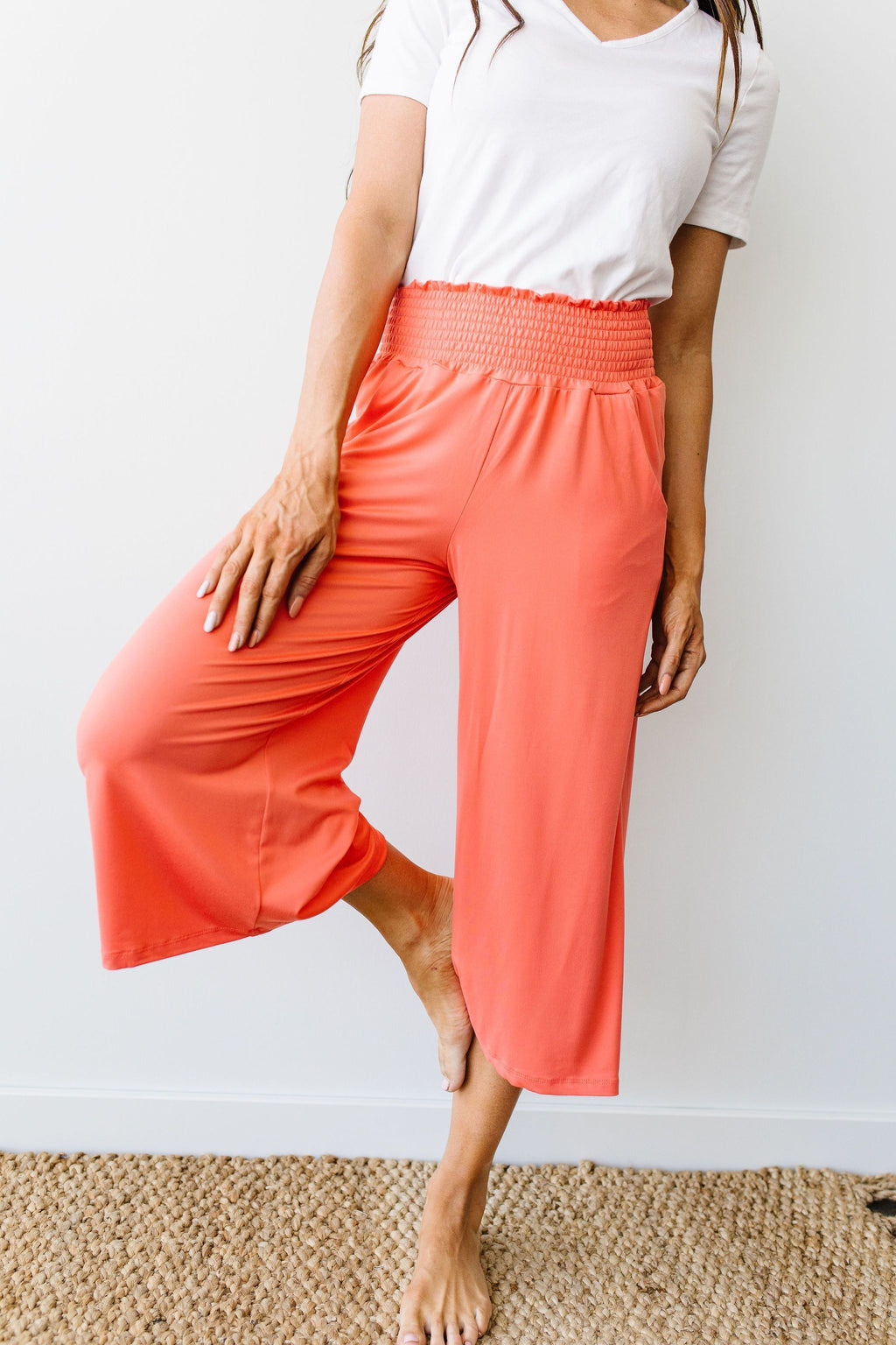 Go Get 'Em Gaucho Pants In Coral - Amaranth Collection