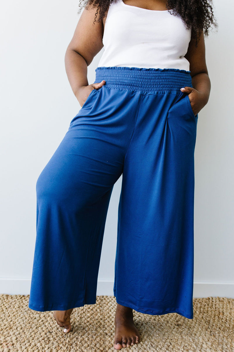 Go Get 'Em Gaucho Pants In Navy - Amaranth Collection