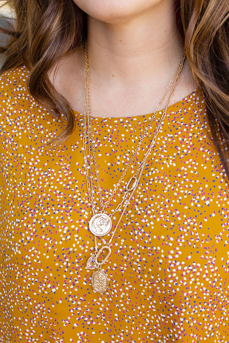 Coin Charm Necklace in Gold