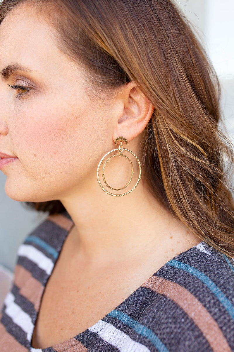 Hammered Metal Double Circle Half Moon Earrings in Gold - Amaranth Collection
