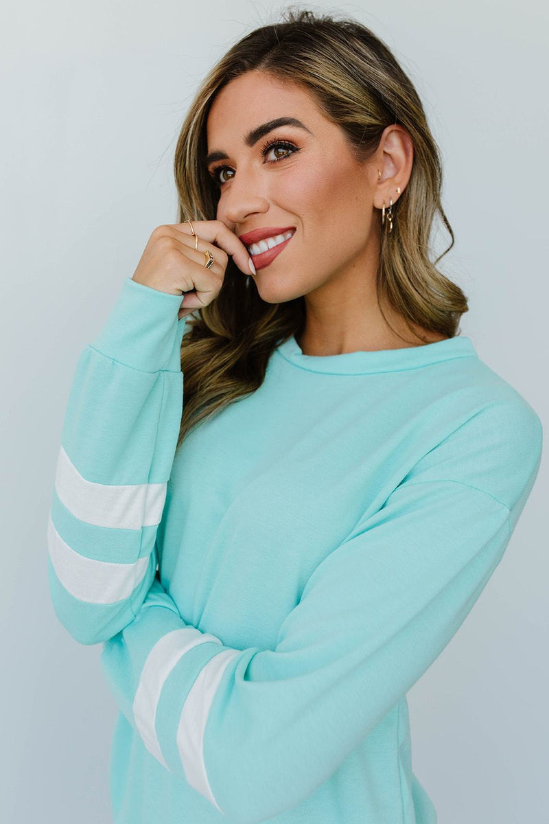 Good Sport Pullover In Aqua - Amaranth Collection