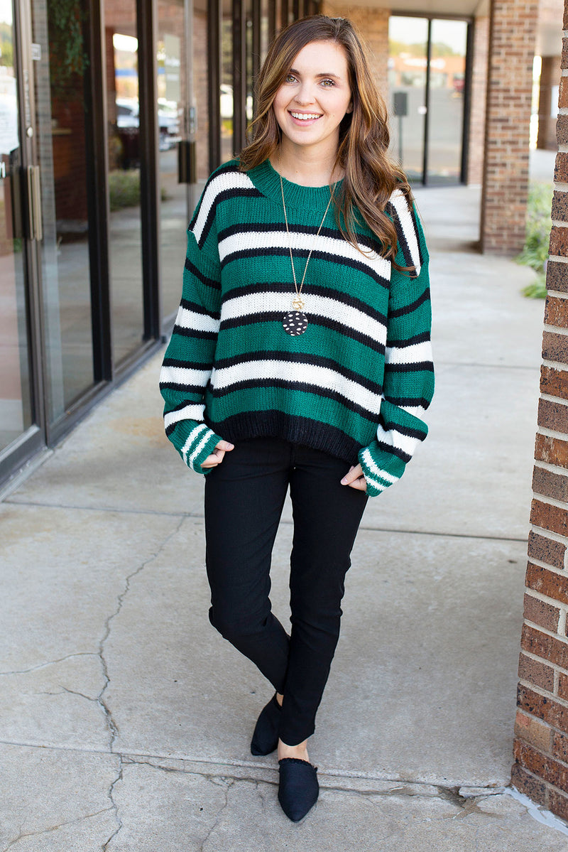 Green Bold Stripe Sweater
