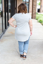 Heather Gray Rounded Hem T-shirt