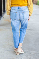 Cropped High Waist Light Wash Denim - Amaranth Collection