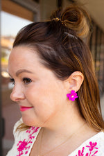 Pearl Flower Power Earring in Hot Pink