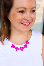 Flower Bloom Necklace in Hot Pink