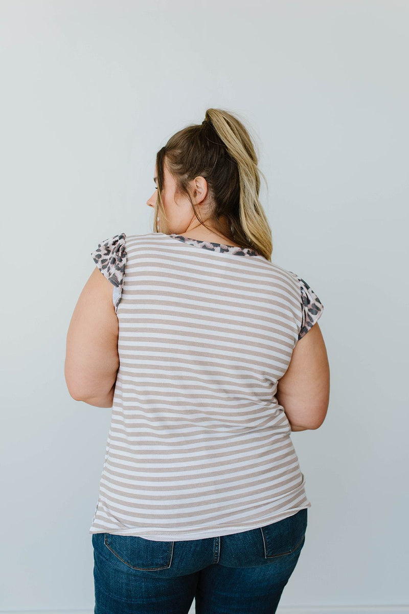 Just A Bit Of Leopard Striped Top - Amaranth Collection