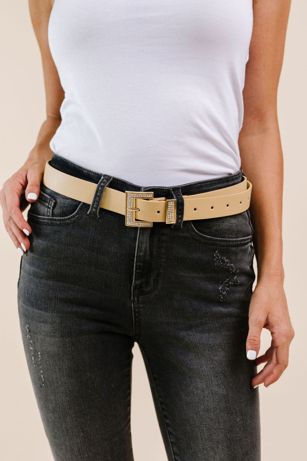 Just A Little Bling Belt In Natural - Amaranth Collection