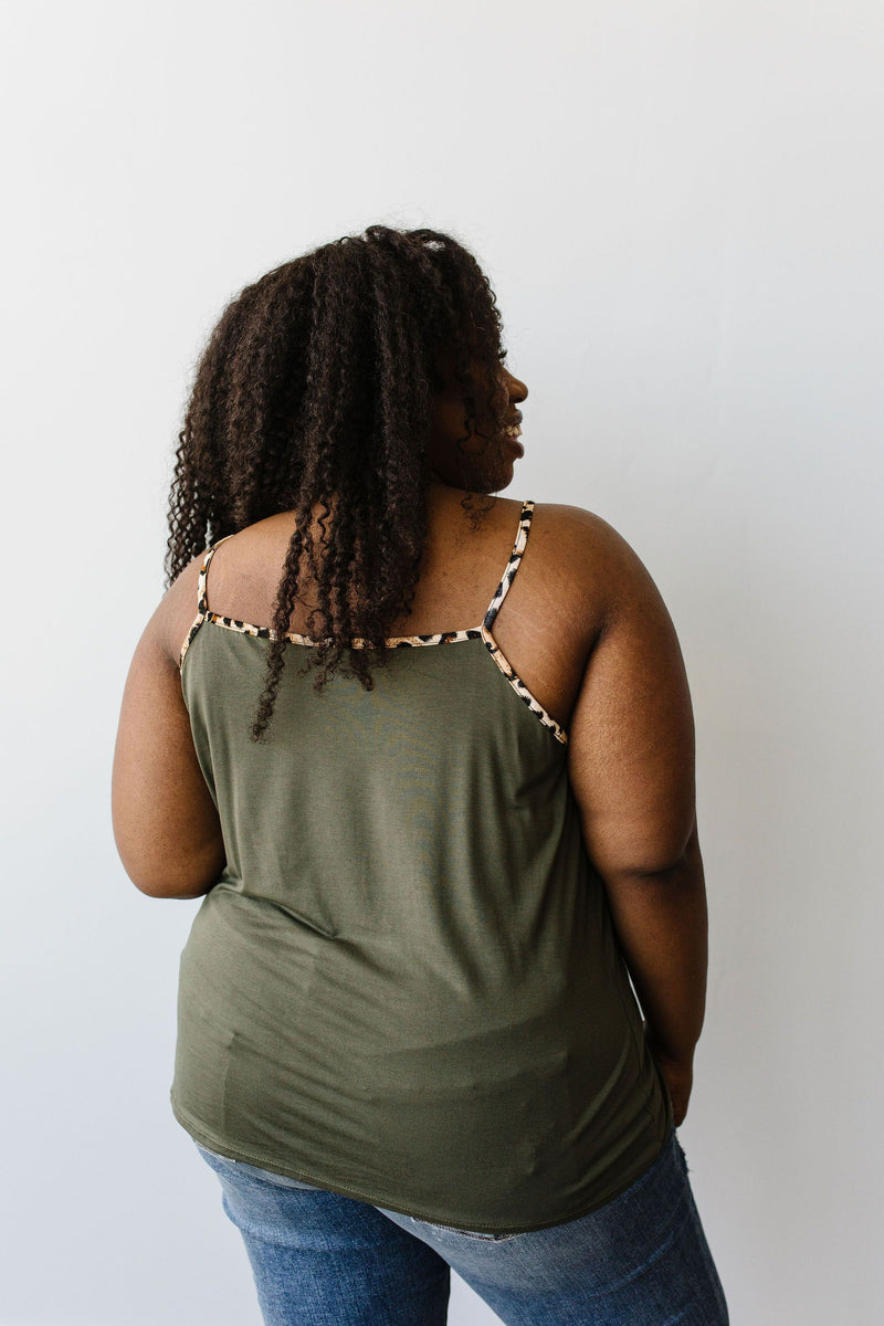 Just A Little Wild Camisole In Olive - Amaranth Collection