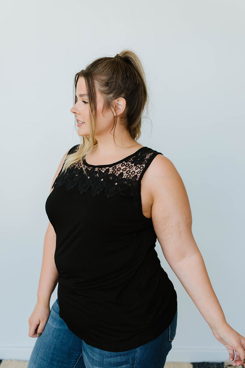 Lace & Shoulders Above The Rest Top In Black - Amaranth Collection