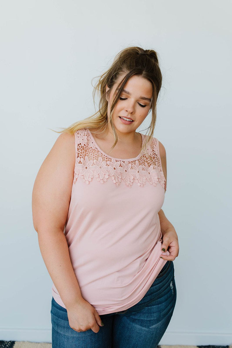 Lace & Shoulders Above The Rest Top In Blush - Amaranth Collection