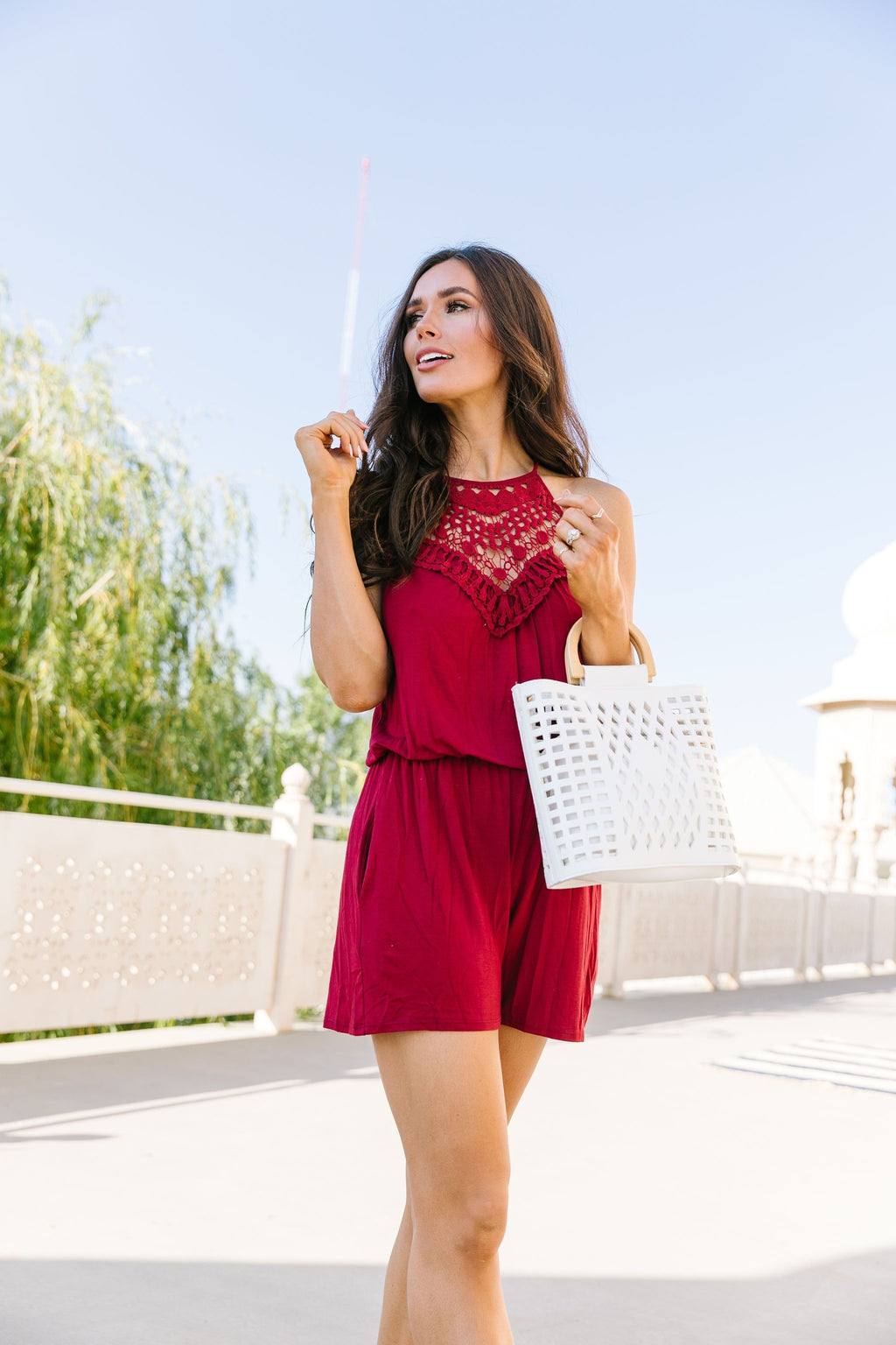 Lace Topped Romper In Wine - Amaranth Collection