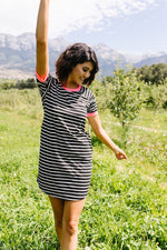 Later Skater T-shirt Dress With Hot Pink Trim - Amaranth Collection