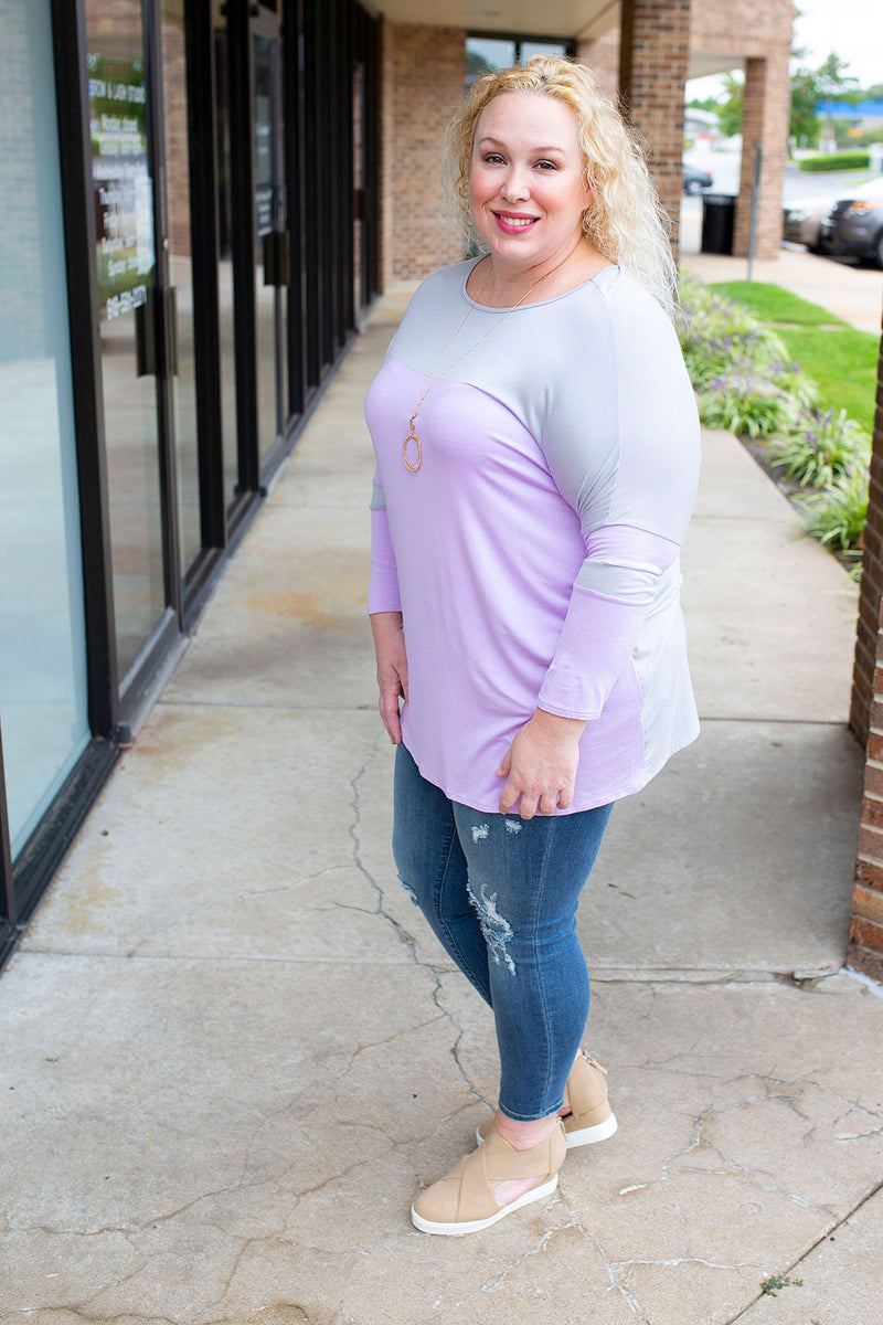 Lilac Jersey Stripe 3/4 Sleeve Top