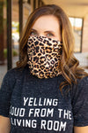 Leopard Face Bandana Mask - Amaranth Collection
