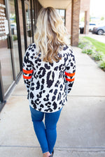 Leopard Spots with Bright Jersey Stripes Top