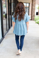 Butterfly Sleeves V-Neck Top in Steel Blue - Amaranth Collection