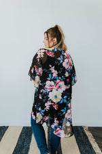 Lightweight Floral Kimono In Black - Amaranth Collection