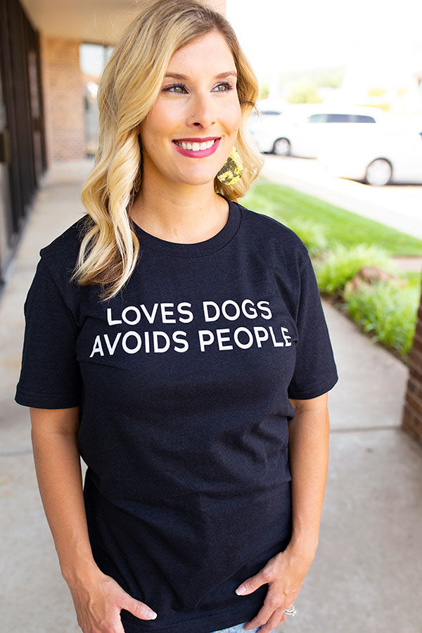 Loves Dogs Avoid People Graphic Tee