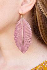 Leather Feather Earring with Gold Bar in Mauve