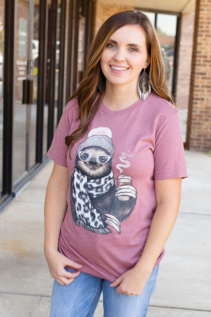 Sloth Leopard Scarf Graphic Tee