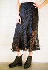 Midnight Spotted Midi Skirt