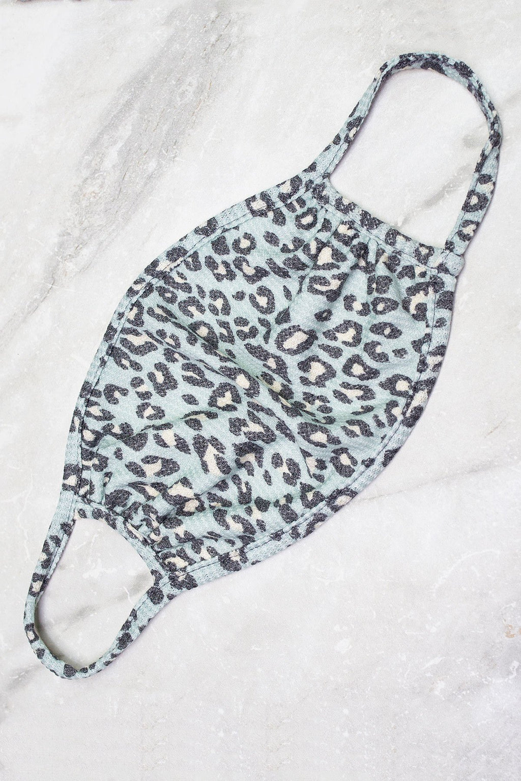 Mint Leopard Print Waffle Knit Material Face Mask