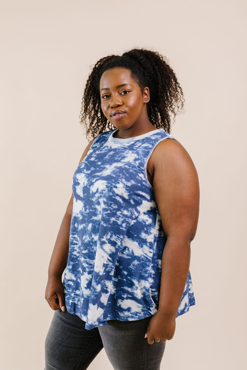 Moody Blue Thermal Tie Dye Top - Amaranth Collection