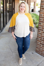 Boho Bell Sleeve Waffle Knit Top in Mustard - Amaranth Collection