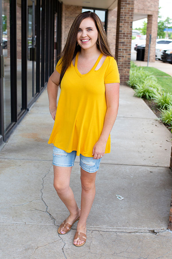 Mustard Short Sleeves Scoop V-Neck with Cut Out Top