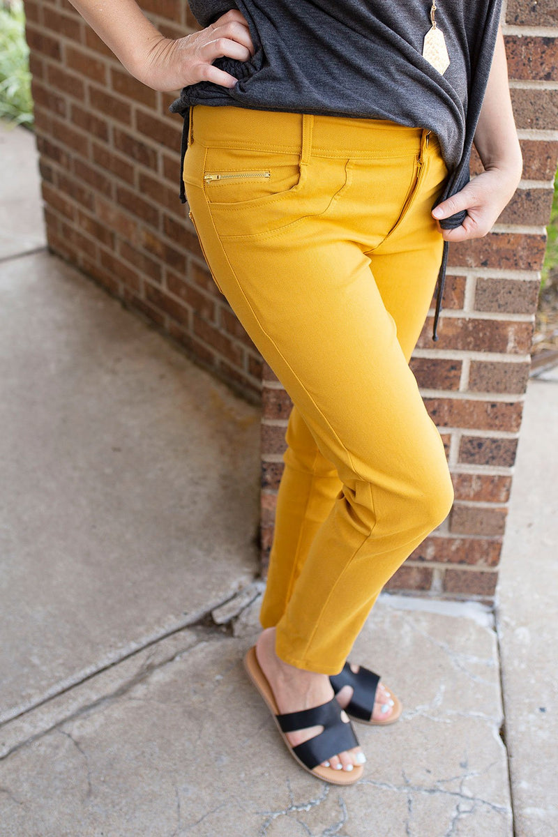 Front Zipper Super Stretch Mustard Jeans - Amaranth Collection