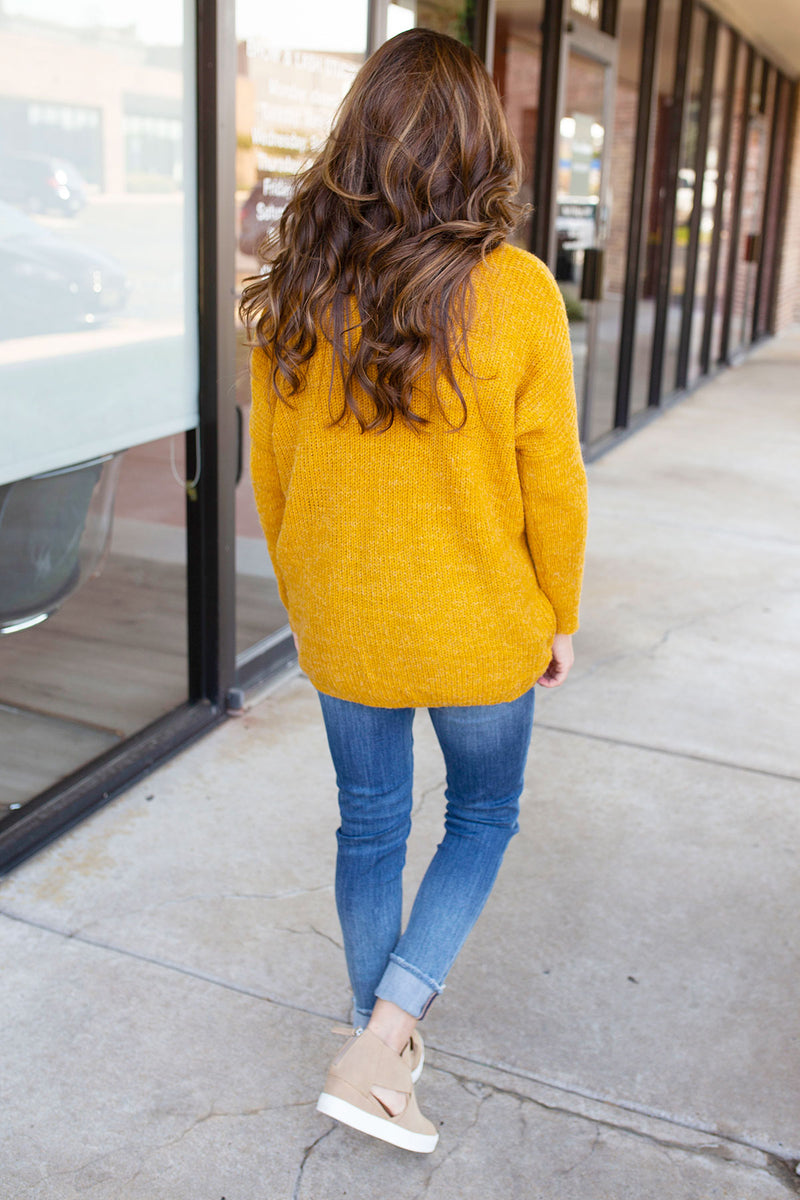 Mustard Knit Sweater with Red Stripes