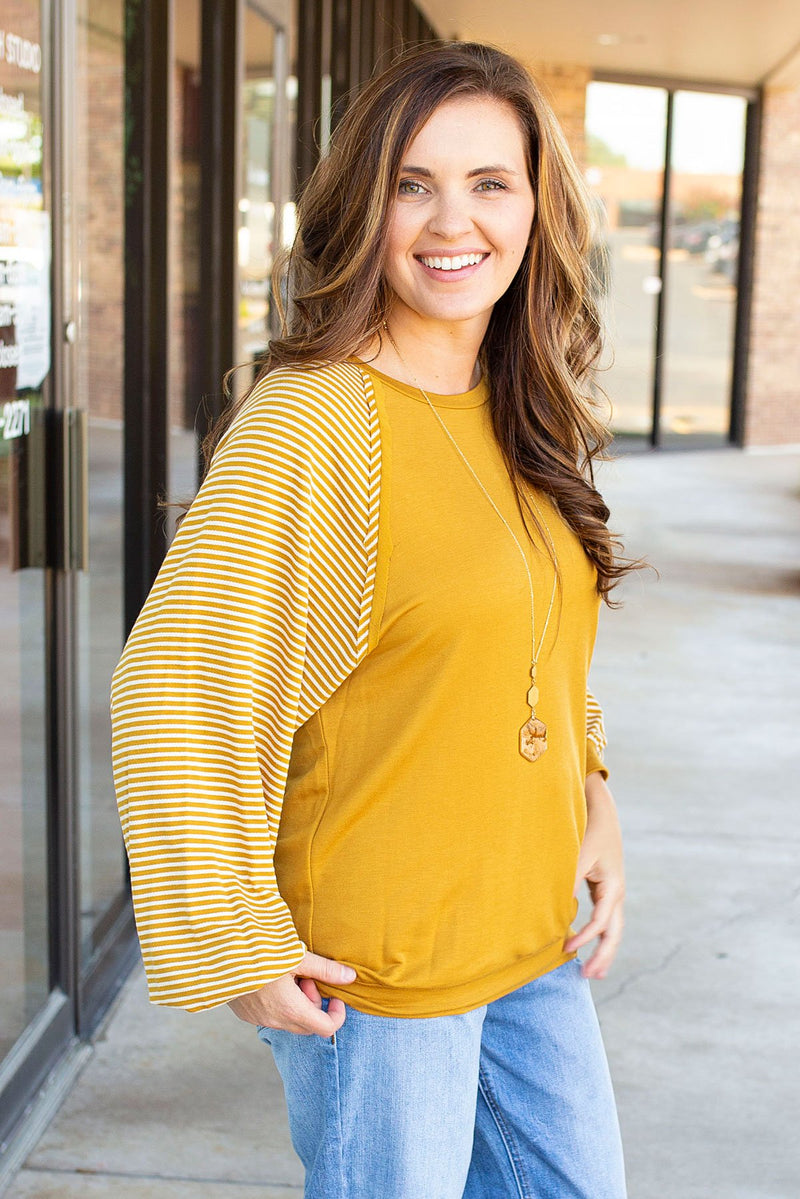 Puff Sleeve Solid Striped Top in Mustard - Amaranth Collection