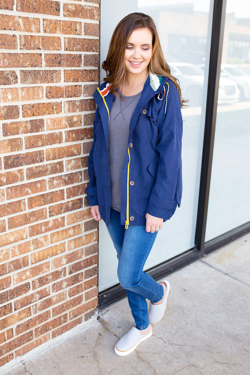 Navy Jacket with Multi Color Hoodie