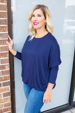 A Lot Like Me Dolman Sleeve Top in Navy