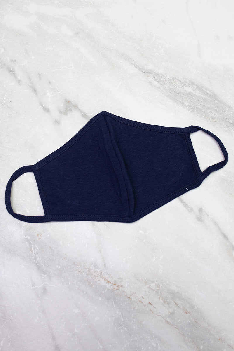 solid navy 3 ply cotton face mask