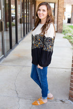 Olive Leopard Chevron Top