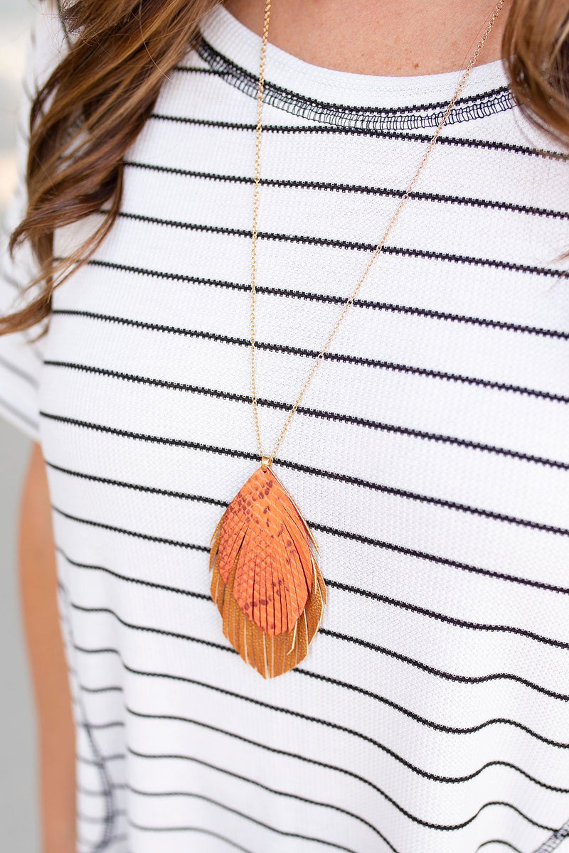 Snake Print Layered Pendant Necklace in Orange/Tan - Amaranth Collection