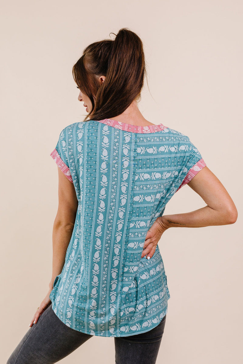 Paisley Block Party Top In Teal