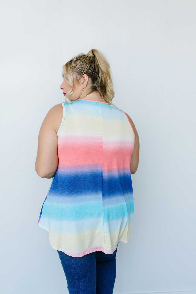 Pastel Gradient Stripes in Blue & Coral - Amaranth Collection