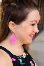 Dripping in Gold Earrings in Pink