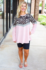 Colorblock Long Sleeve Leopard Top in Pink - Amaranth Collection