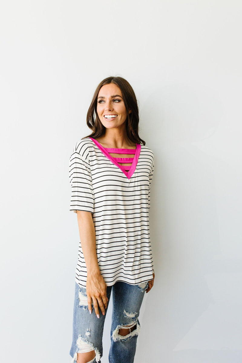 Pink Neon Striped V Top - Amaranth Collection