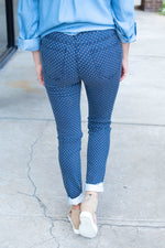 Polka Dot Skinny Pants in Navy
