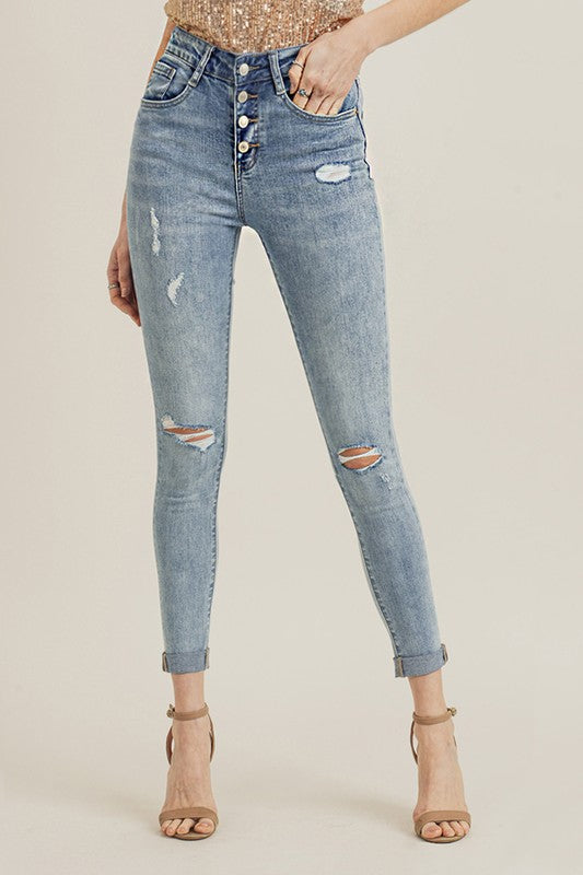 Button Fly Rolled Bottom Light Skinny Jean