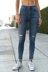 Distressed Raw Hem Ankle Skinny