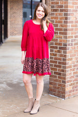 Red Dress with Leopard Ruffle